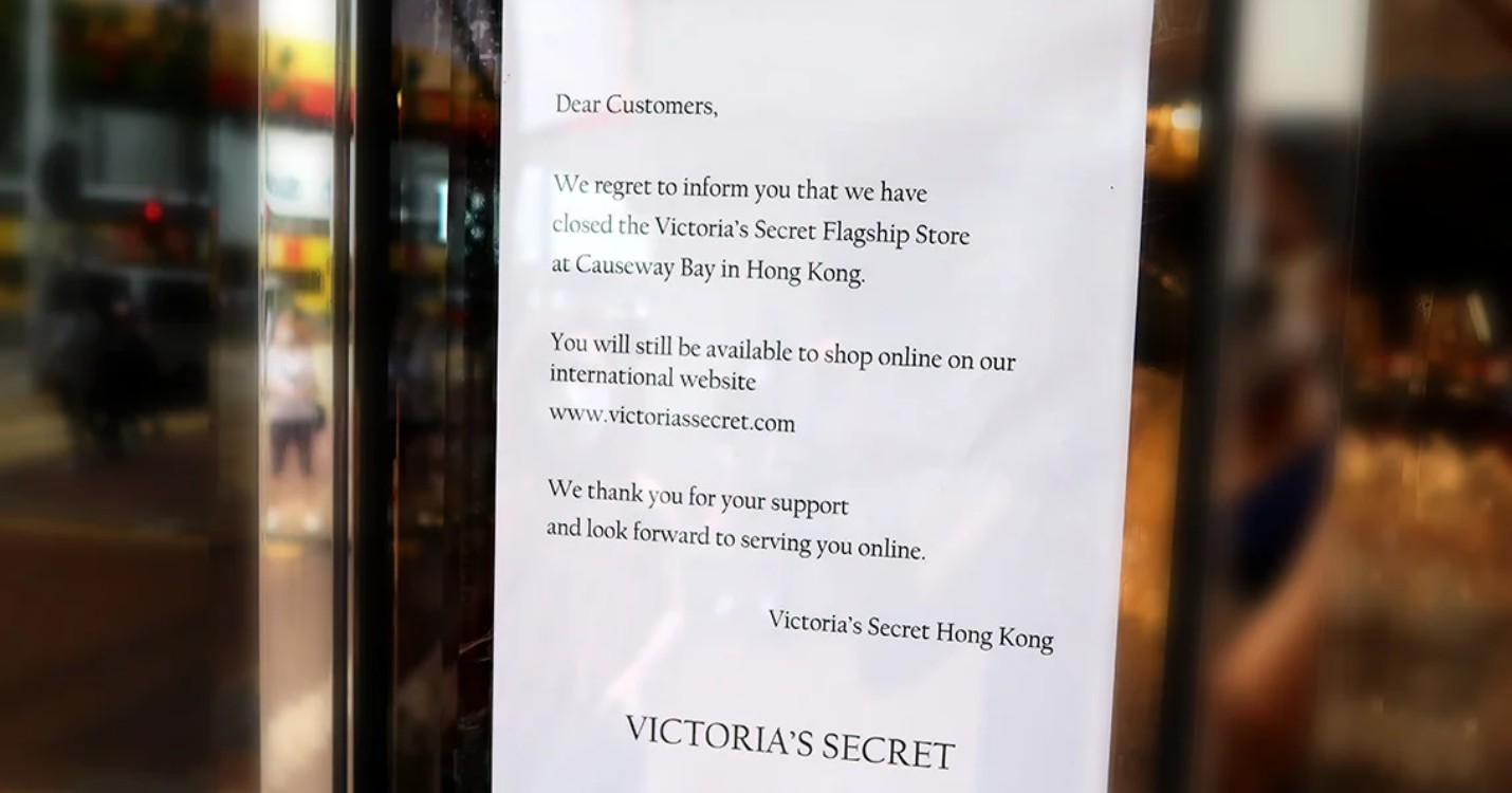 L'aéroport international de Hong Kong en difficulté, Victoria's Secret ferme à Causeway Bay