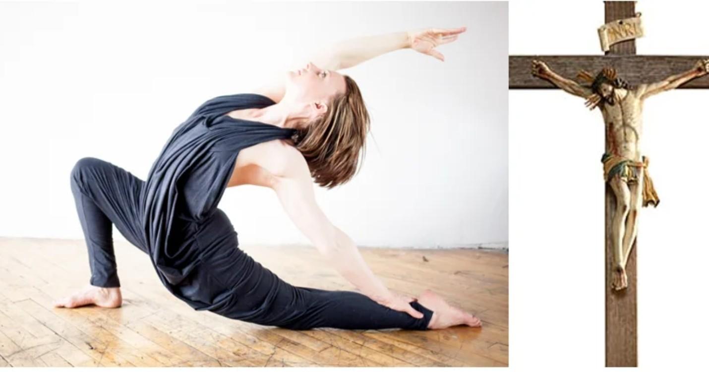 Yoga chrétien sur un fond complexe